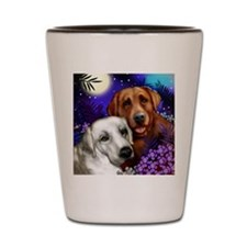 White and Red Labrador Retriever Shot Glass