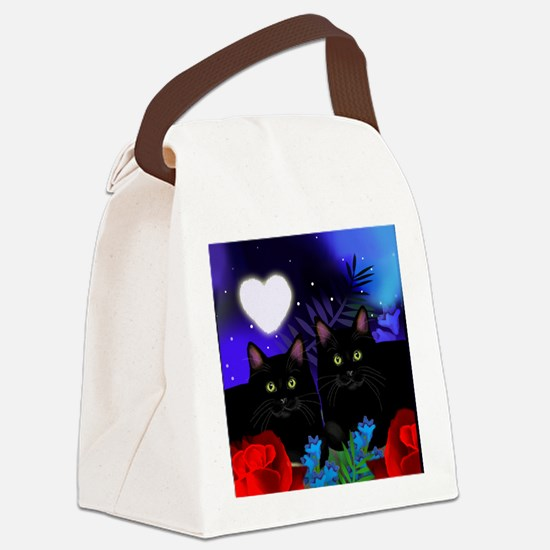 Black Cats Moon Heart Canvas Lunch Bag