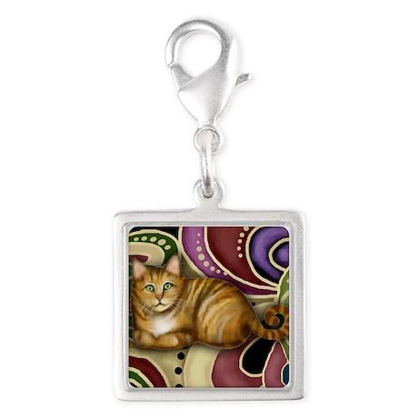 Orange Tabby Cat Silver Square Charm