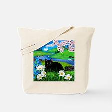 Black cat spring river ceramic tile coate Tote Bag