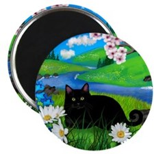 Black cat spring river ceramic tile coater Magnet
