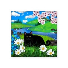 "Black cat spring river cera Square Sticker 3"" x 3"""