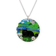 Black cat spring river ceram Necklace