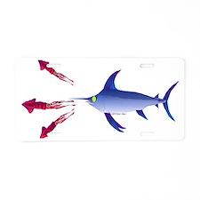Swordfish chasing three hum Aluminum License Plate