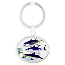 Three Tuna Chase Sardines fish Oval Keychain