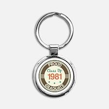 Vintage Class of 1981 Round Keychain