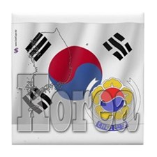 Silky Flag of Korea Tile Coaster