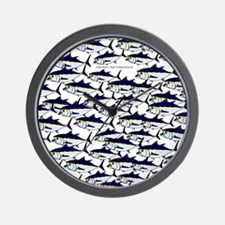 School of Bluefin Tuna fish portrait1 Wall Clock