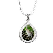 Sandhill Crane on Patrol Silver Teardrop Necklace