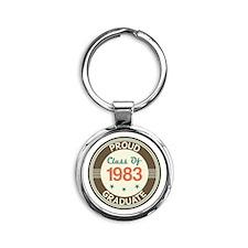 Vintage Class of 1983 Round Keychain