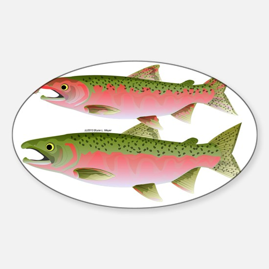 Coho Silver Pacific Salmon Couple t Sticker (Oval)