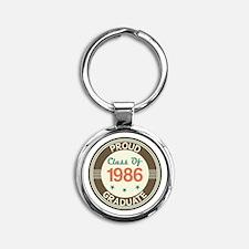 Vintage Class of 1986 Round Keychain