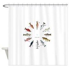 North American Salmon and Trouts Cl Shower Curtain