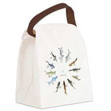 Shark Clock Two Canvas Lunch Bag
