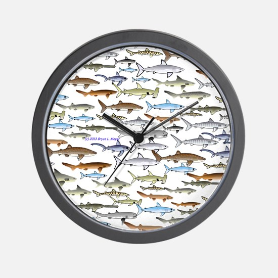 school of sharks 2f2 Wall Clock