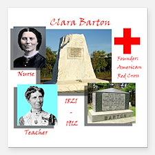 "Clara Barton Square Car Magnet 3"" x 3"""