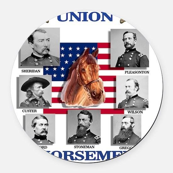 Union Horsemen Round Car Magnet