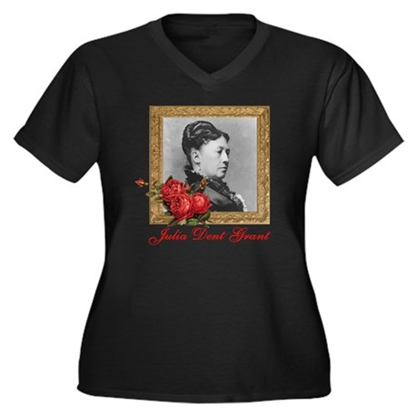 Julia Dent G Women's Plus Size Dark V-Neck T-Shirt