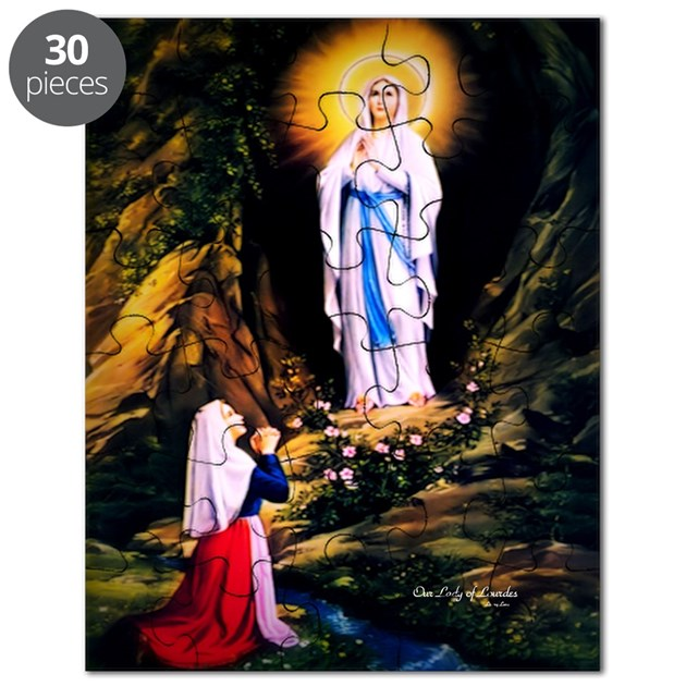 Our lady of lourdes 1858 puzzle by litanylane for Our lady of lourdes coloring page