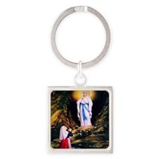 Our Lady of Lourdes 1858 Square Keychain