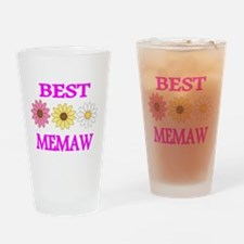 BEST MEMAW WITH FLOWERS 2 Drinking Glass