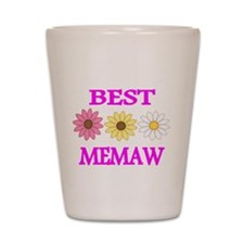 BEST MEMAW WITH FLOWERS 2 Shot Glass