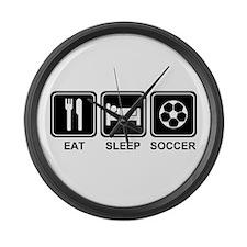 EAT SLEEP SOCCER Large Wall Clock