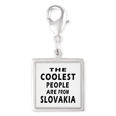 The Coolest Slovakia Designs Silver Square Charm