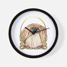 Pekingese Christmas/Holiday Wall Clock
