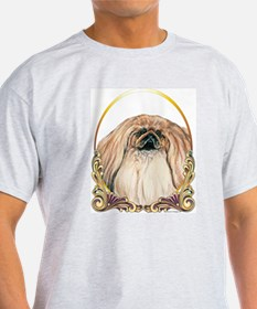 Pekingese Christmas/Holiday Ash Grey T-Shirt