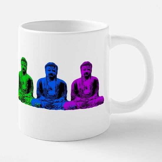 Row Of Rainbow Buddhas 20 oz Ceramic Mega Mug