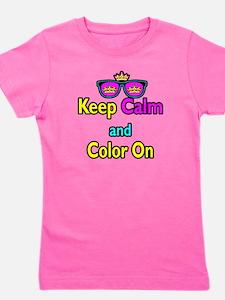 Crown Sunglasses Keep Calm And Color On Girl's Tee