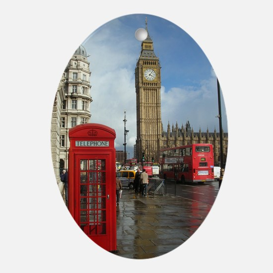 London phone box Ornament (Oval)