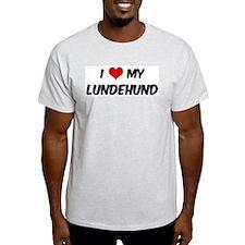 I Love: Lundehund Ash Grey T-Shirt