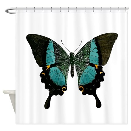 blue and black butterfly shower curtain by
