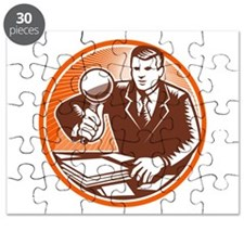 Businessman Magnifying Glass Looking Documents Puz