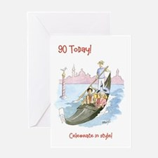 90 today Greeting Card - celebrate in style
