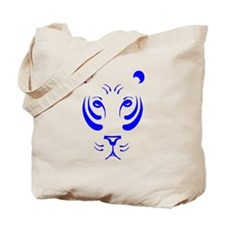 Blue Tiger Face Tote Bag