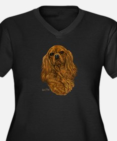 Cavalier King Charles Women's Plus Size V-Neck Dar