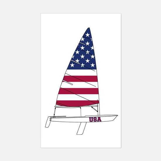 American Dinghy Sailing Sticker (Rectangle)