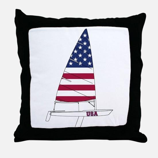 American Dinghy Sailing Throw Pillow