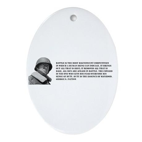 Patton Quote - Battle Oval Ornament