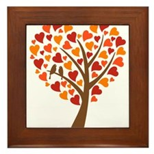 heart tree with love birds for wedding invitation