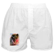 Freida wearing pink pearls. Boxer Shorts