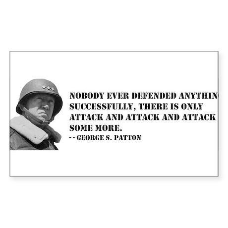 Patton Quote - Attack Rectangle Sticker