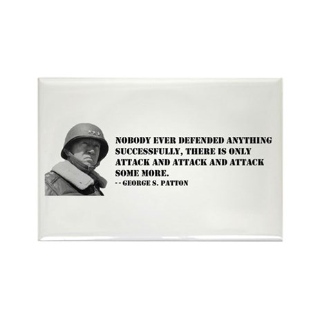 Patton Quote - Attack Rectangle Magnet (100 pack)