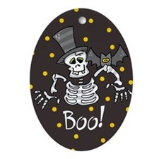 Skeleton and Bat BOO Holiday Oval Ornament