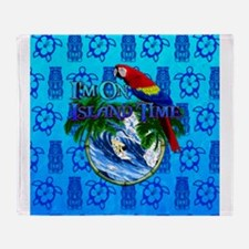 Island Time Surfer Tiki Throw Blanket