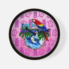 Island Time Surfer Tiki Wall Clock