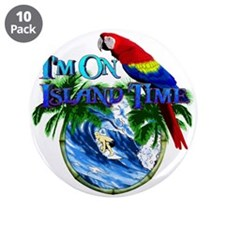 """Island Time Parrot 3.5"""" Button (10 pack)"""